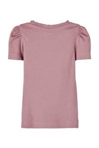 NAME IT MINI ribgebreid T-shirt Kabexi met biologisch katoen oudroze, Oudroze