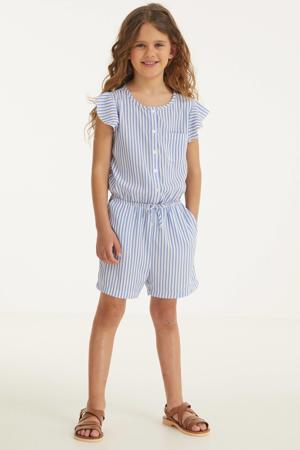 gestreepte jumpsuit Naya van gerecycled polyester blauw/wit