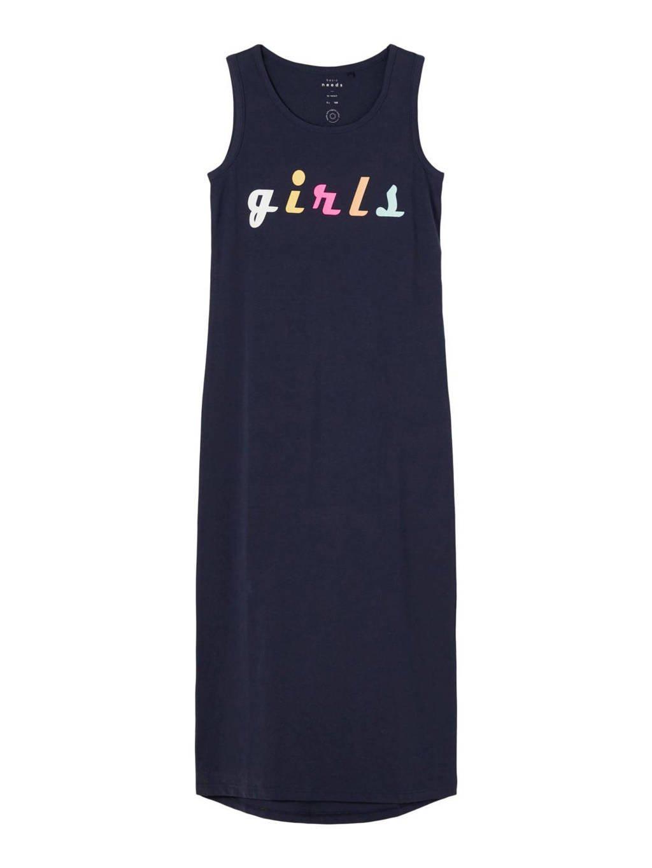 NAME IT KIDS maxi jurk Vippa met biologisch katoen donkerblauw, Donkerblauw