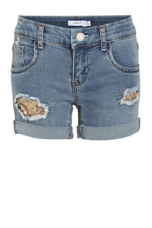 jeans short Salli met biologisch katoen stonewashed