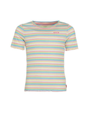 Levi's Kids gestreept ribgebreid T-shirt roze/wit/lichtblauw