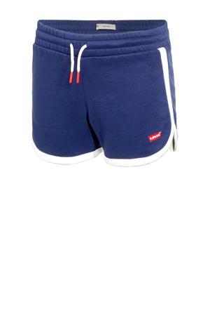 Levi's Kids sweatshort met zijstreep donkerblauw/wit/rood