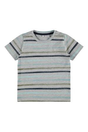 gestreept T-shirt Fanti met biologisch katoen grijs melange/groen/blauw