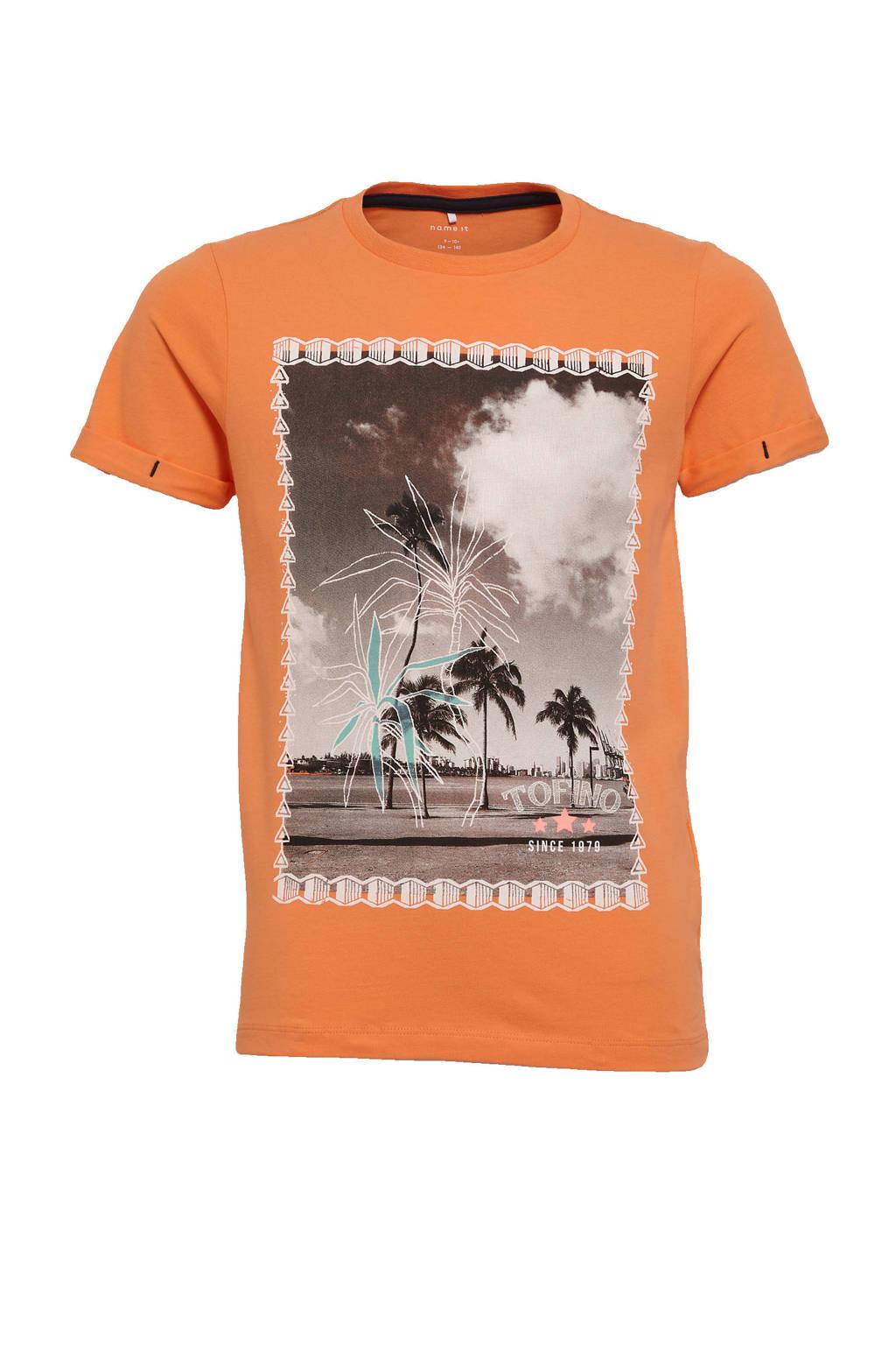 NAME IT KIDS T-shirt Zoccando met biologisch katoen oranje, Oranje