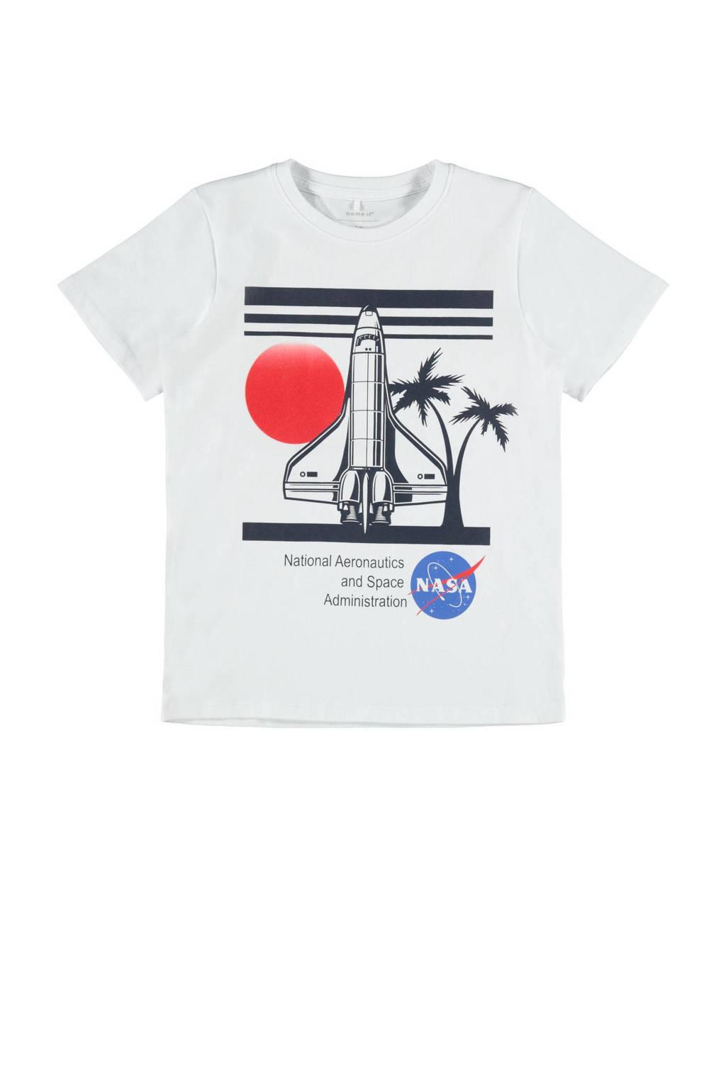 NAME IT KIDS T-shirt Nasa met biologisch katoen wit/zwart/rood, Wit/zwart/rood
