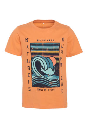 T-shirt Faiz van biologisch katoen wit/blauw/oranje