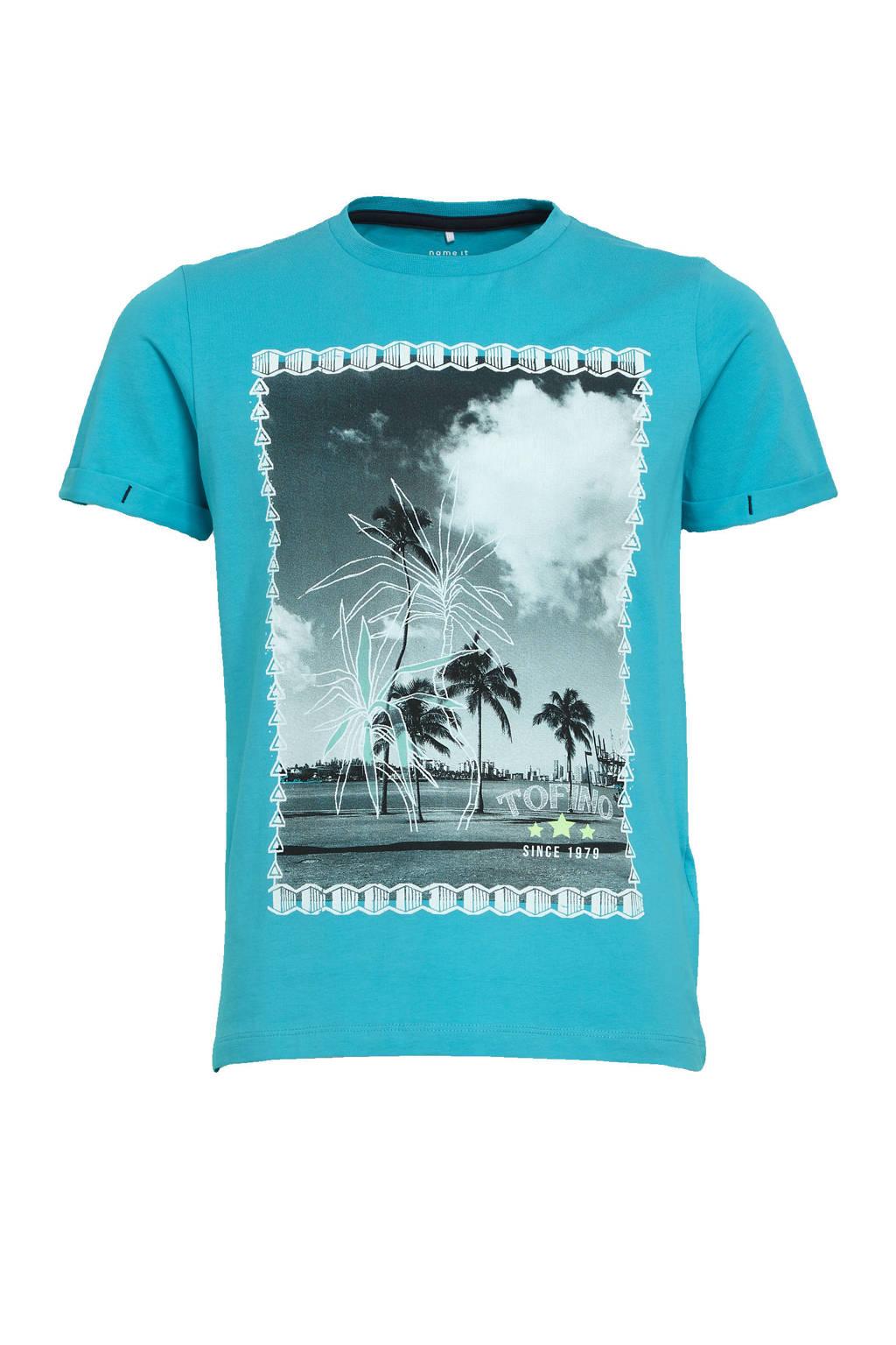 NAME IT KIDS T-shirt Zoccando met biologisch katoen turquoise, Turquoise