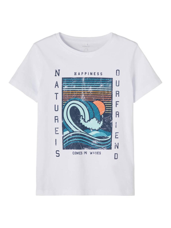 NAME IT KIDS T-shirt Faiz van biologisch katoen wit/blauw/oranje, Wit/blauw/oranje