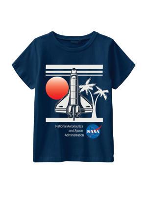 T-shirt Nasa met biologisch katoen donkerblauw/wit/rood