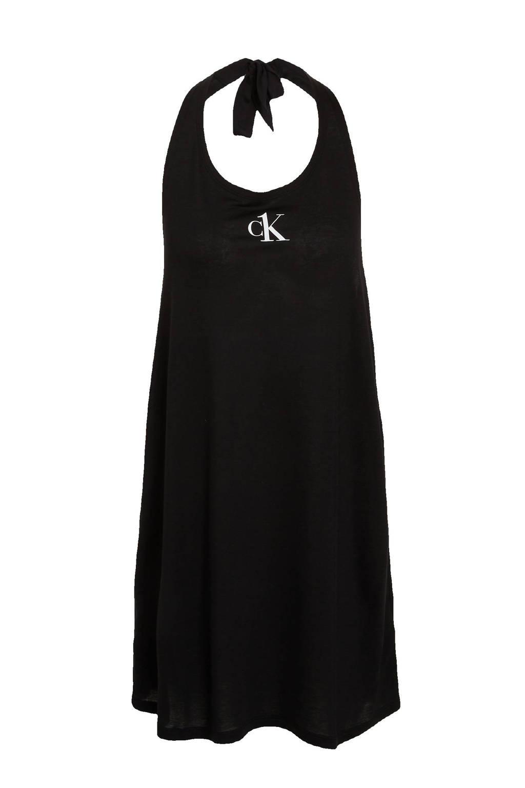 CALVIN KLEIN halter strandjurk met logo zwart, Zwart