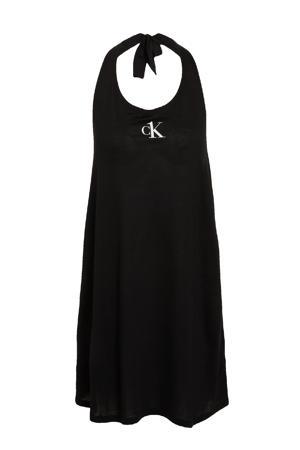 halter strandjurk met logo zwart
