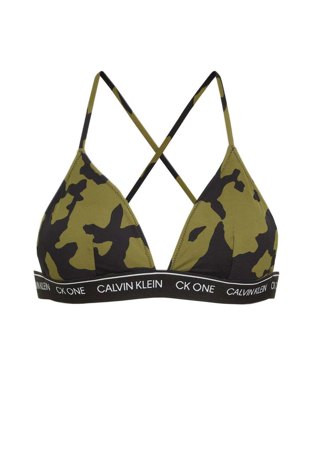 CALVIN KLEIN triangel bikinitop met camouflageprint donkergroen/zwart, Donkergroen/zwart