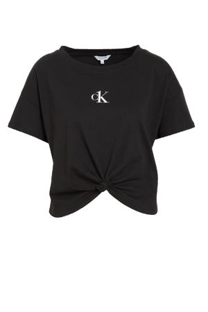 T-shirt met knoopdetail zwart