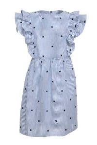 NAME IT KIDS gestreepte jurk Femmi van biologisch katoen blauw/wit, Blauw/wit