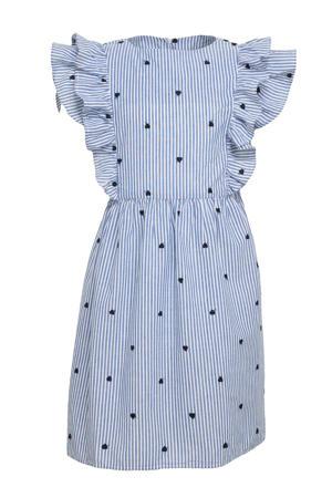 gestreepte jurk Femmi van biologisch katoen blauw/wit
