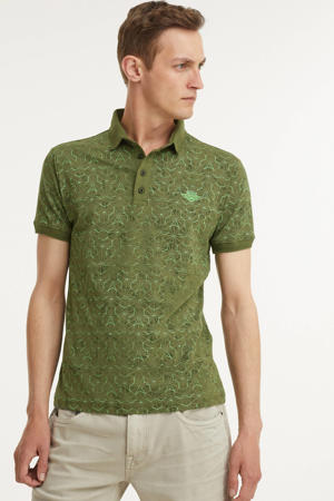 slim fit polo met all over print army
