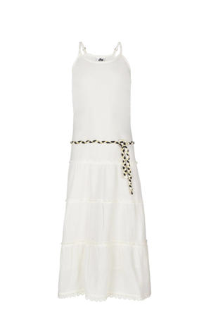 maxi jurk Farida met tekst en ruches off white