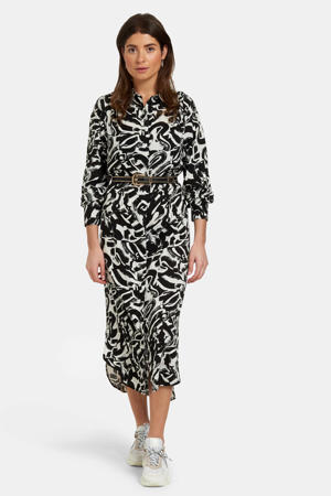 maxi jurk New Baggy met all over print zwart/wit