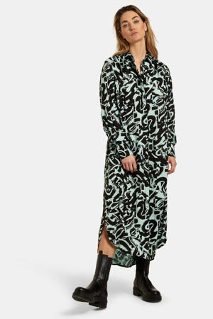 maxi jurk Baggy met all over print groen