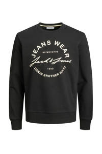 JACK & JONES sweater Hero met logo zwart, Zwart