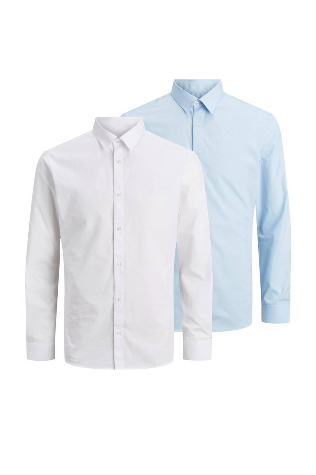JACK & JONES overhemd (set van 2 ) wit/lichtblauw, Wit/lichtblauw