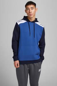 JACK & JONES CORE hoodie Amin blauw/wit/donkerblauw, Blauw/wit/donkerblauw