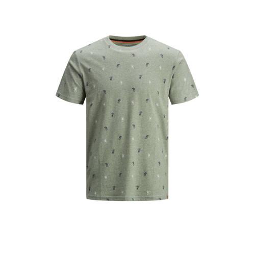 JACK & JONES ORIGINALS T-shirt met all over print lichtgroen