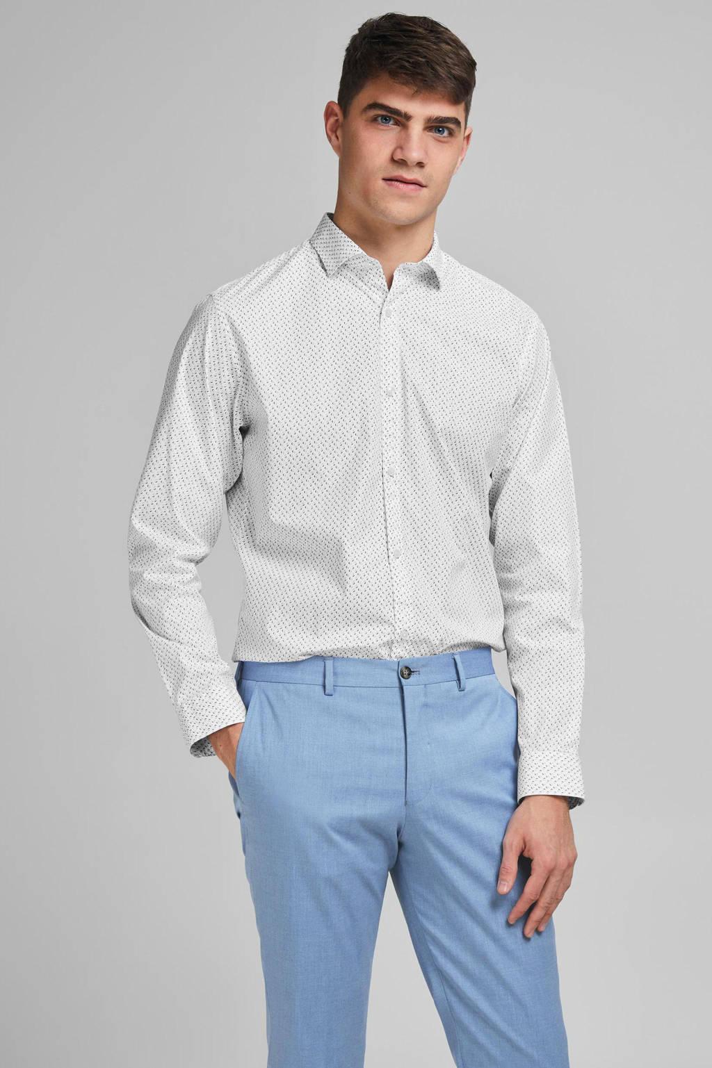 JACK & JONES PREMIUM slim fit overhemd met all over print wit, Wit