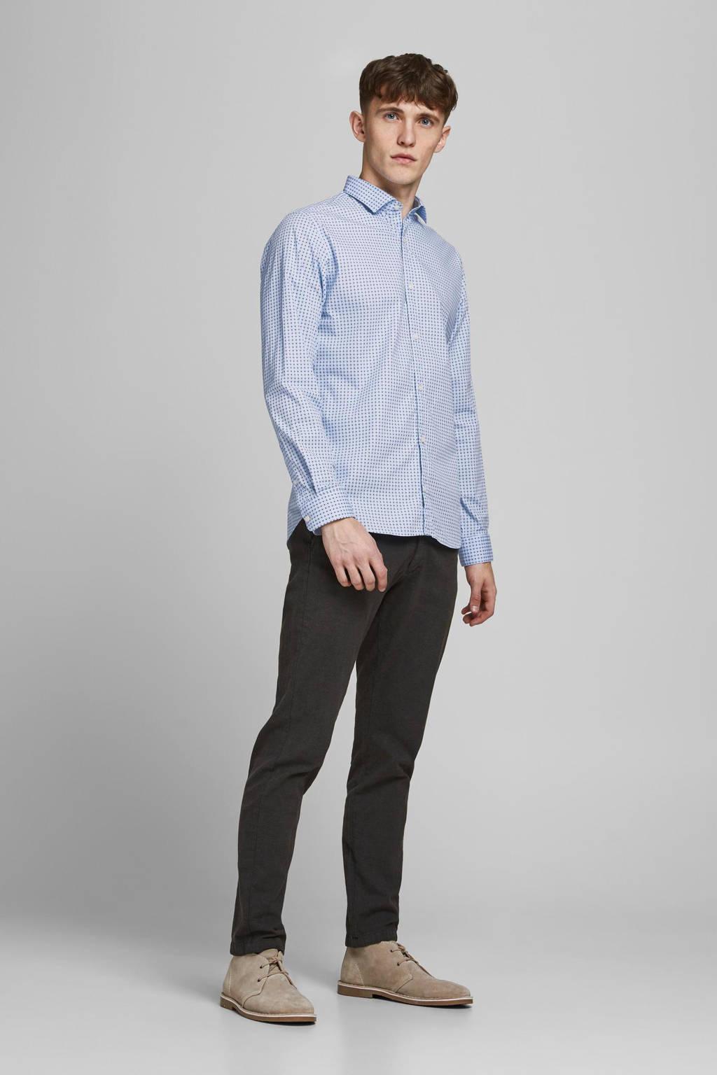 JACK & JONES PREMIUM slim fit overhemd met all over print lichtblauw, Lichtblauw