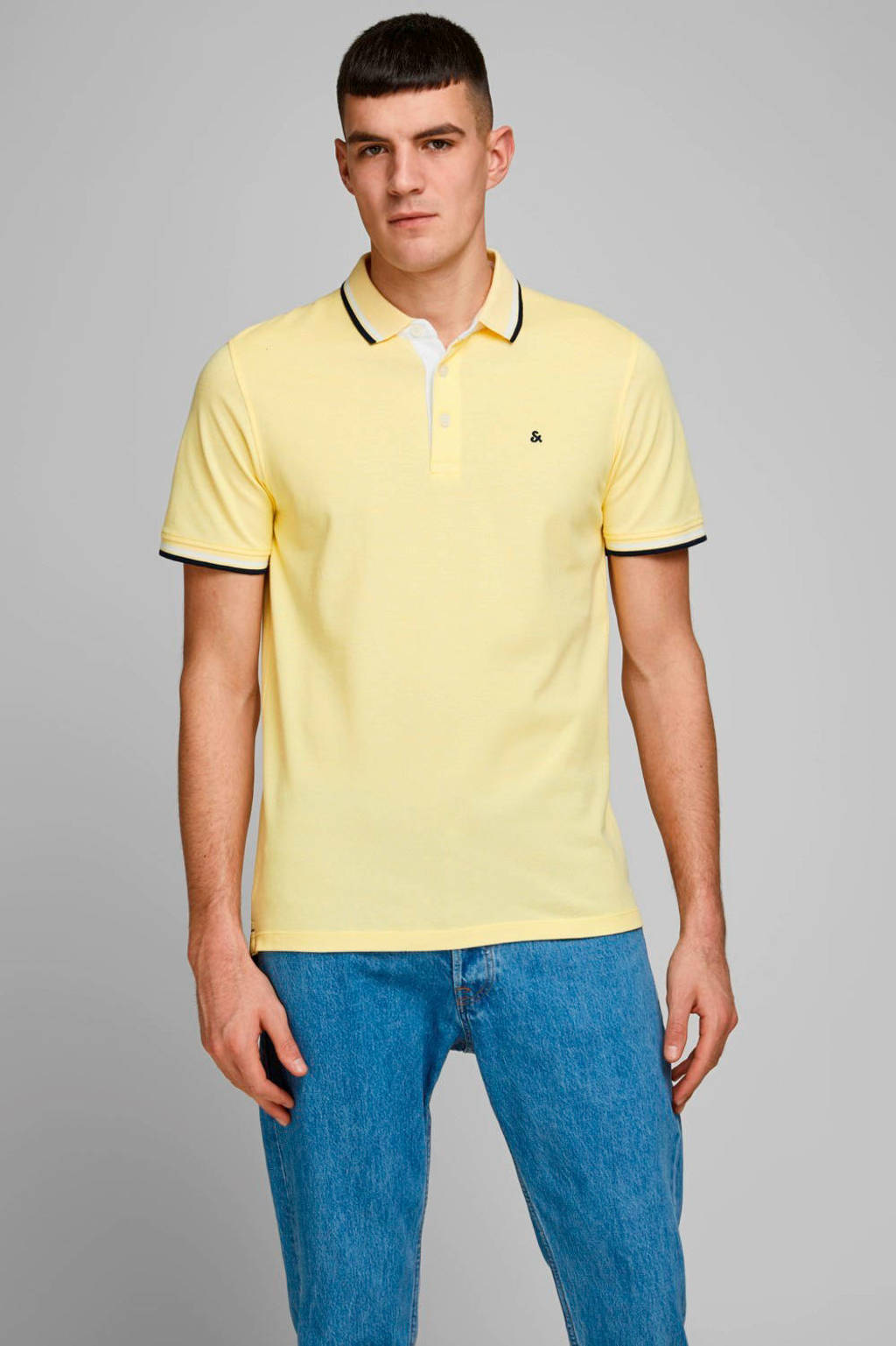 JACK & JONES ESSENTIALS slim fit polo lichtgeel, Lichtgeel