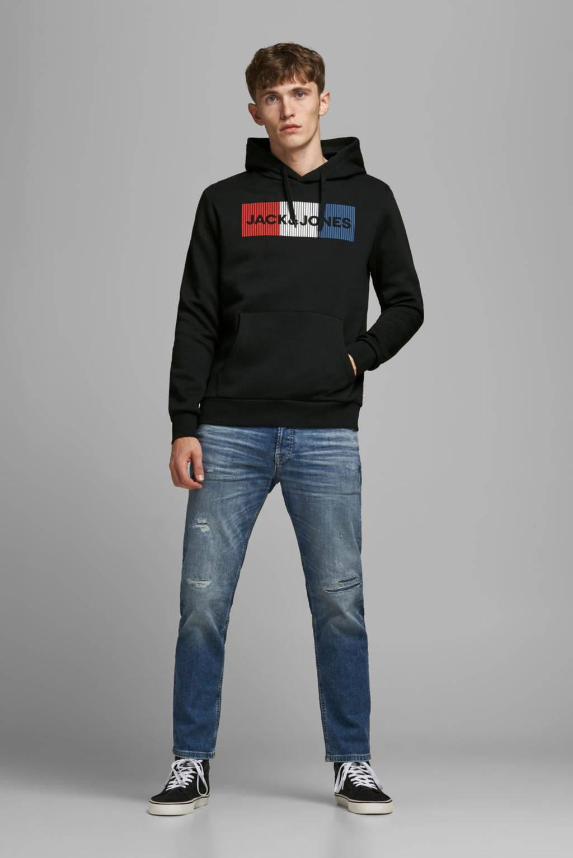 JACK & JONES ESSENTIALS hoodie met logo zwart, Zwart