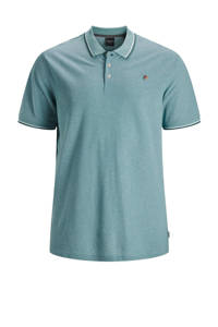 JACK & JONES PLUS SIZE gemêleerde regular fit polo met contrastbies Plus Size turquoise, Turquoise
