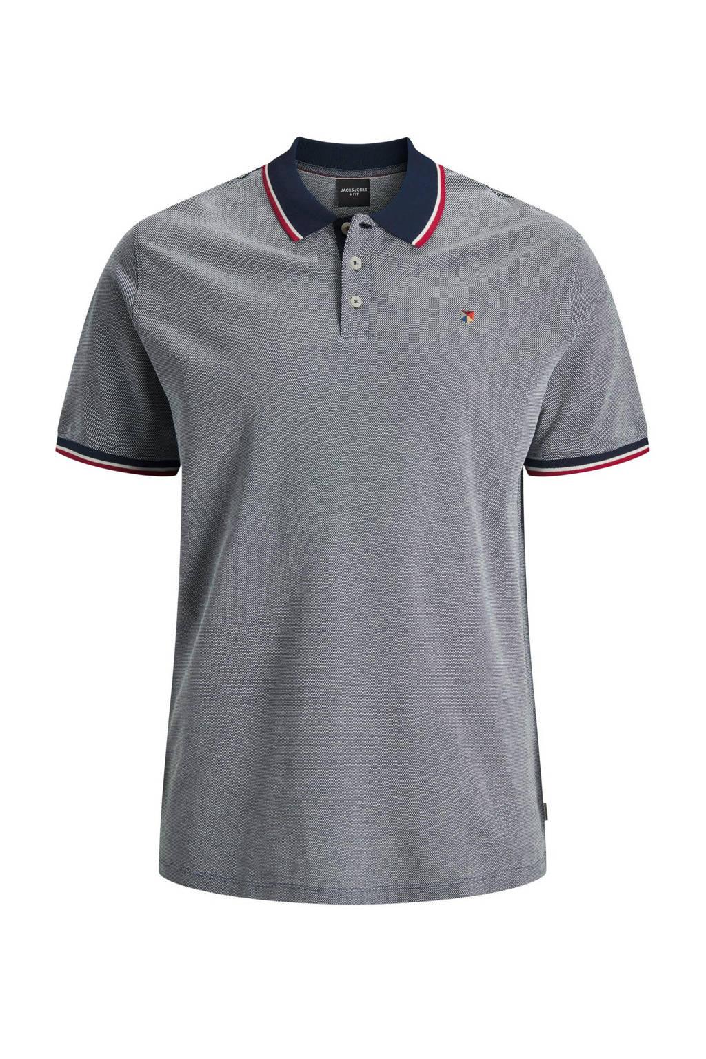 JACK & JONES PLUS SIZE gemêleerde regular fit polo met contrastbies Plus Size donkerblauw, Donkerblauw