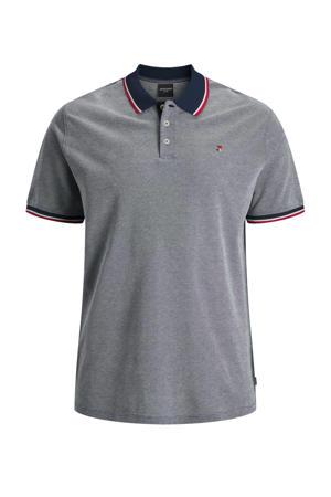 gemêleerde regular fit polo met contrastbies Plus Size donkerblauw