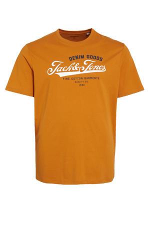 T-shirt met logo Plus Size oranje