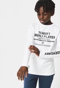 CoolCat Junior longsleeve Lionel met tekst wit/zwart, Wit/zwart
