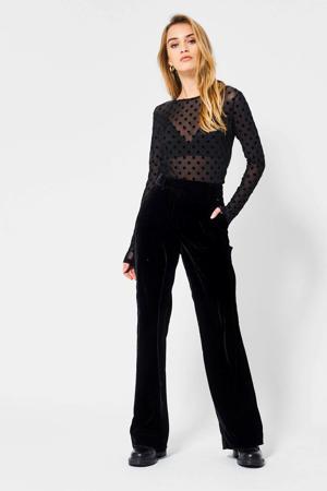 fluwelen high waist broek Pippa X shiny black