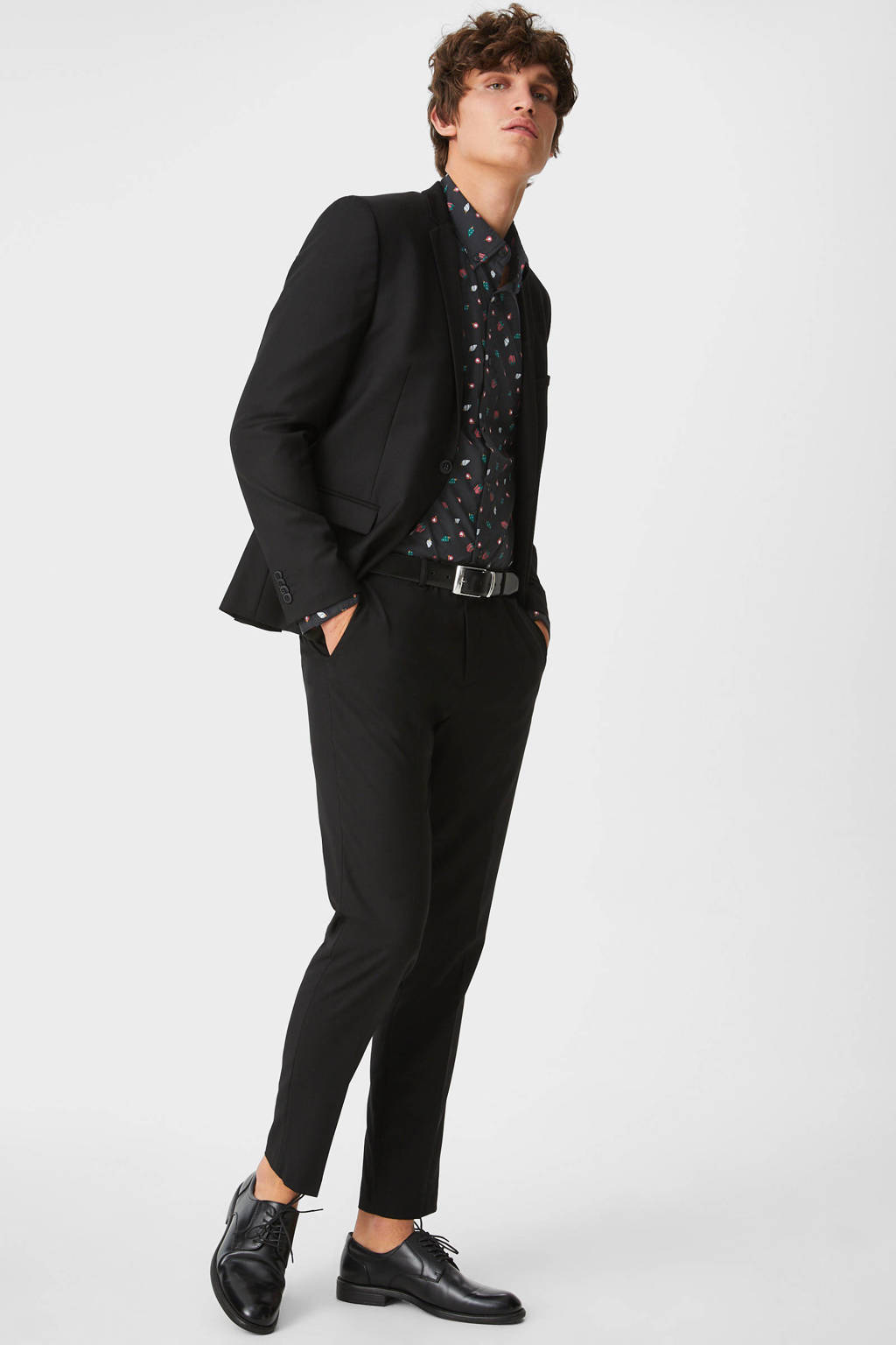 C&A Angelo Litrico slim fit overhemd met all over print zwart, Zwart