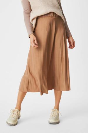 plissé rok met ceintuur camel