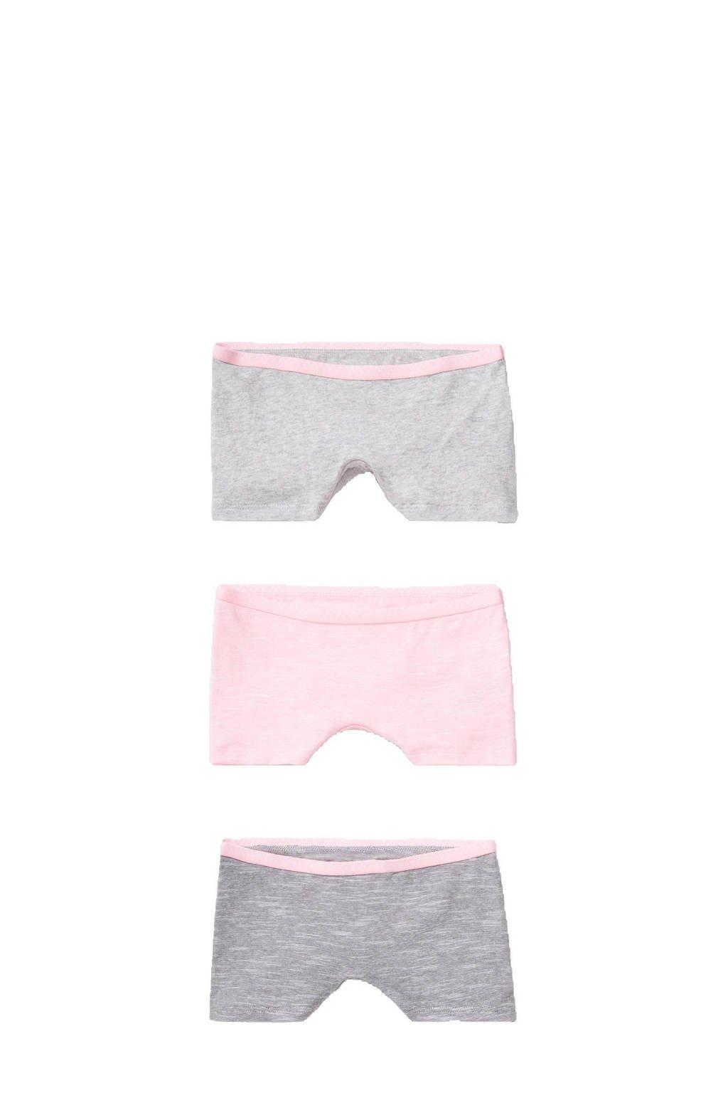 C&A Here & There boxershorts - set van 3 grijs/roze, Grijs/roze