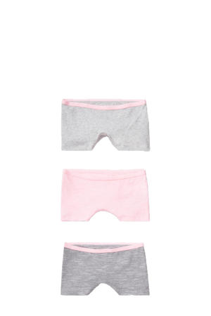 boxershorts - set van 3 grijs/roze