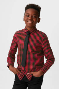 C&A Palomino geruit overhemd + stropdas rood/zwart, Rood