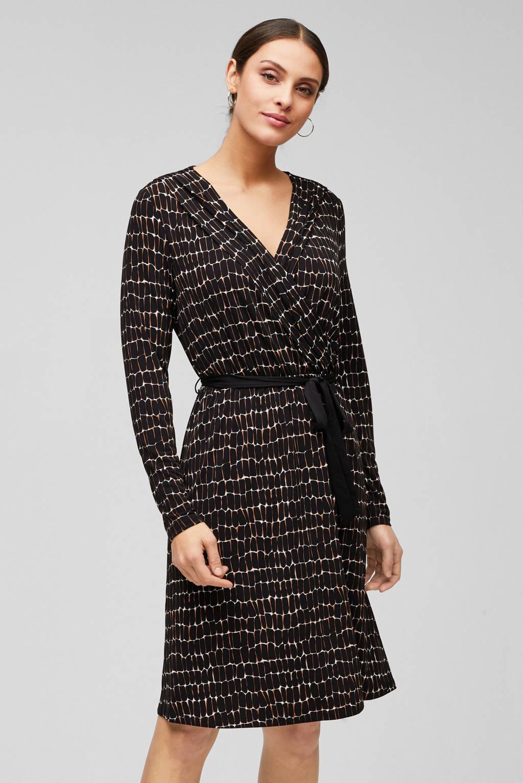 s.Oliver BLACK LABEL jurk met all over print en ceintuur zwart, Zwart