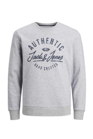 sweater Hero met logo grijs melange