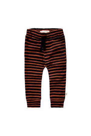 baby gestreepte broek met biologisch katoen bruin/zwart