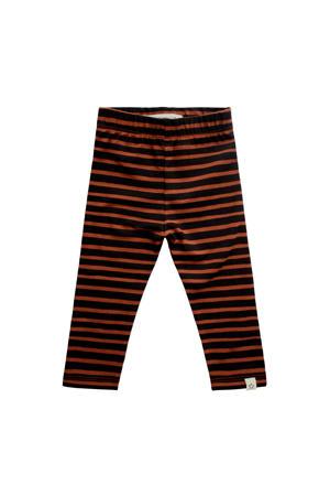 baby gestreepte legging met biologisch katoen bruin/zwart