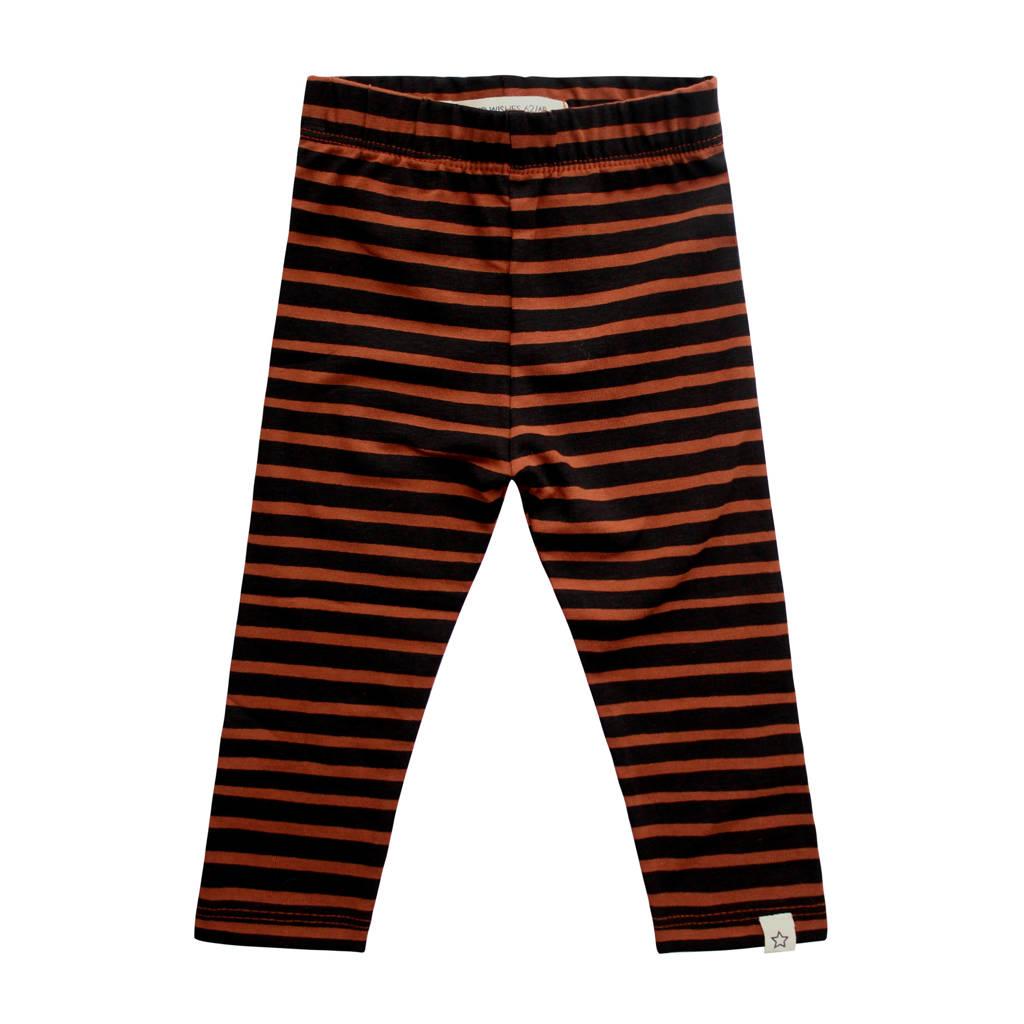 Your Wishes gestreepte legging met biologisch katoen bruin/zwart, Bruin/zwart