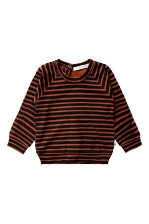 baby gestreepte sweater met biologisch katoen bruin/zwart
