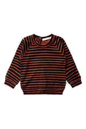 gestreepte sweater met biologisch katoen bruin/zwart