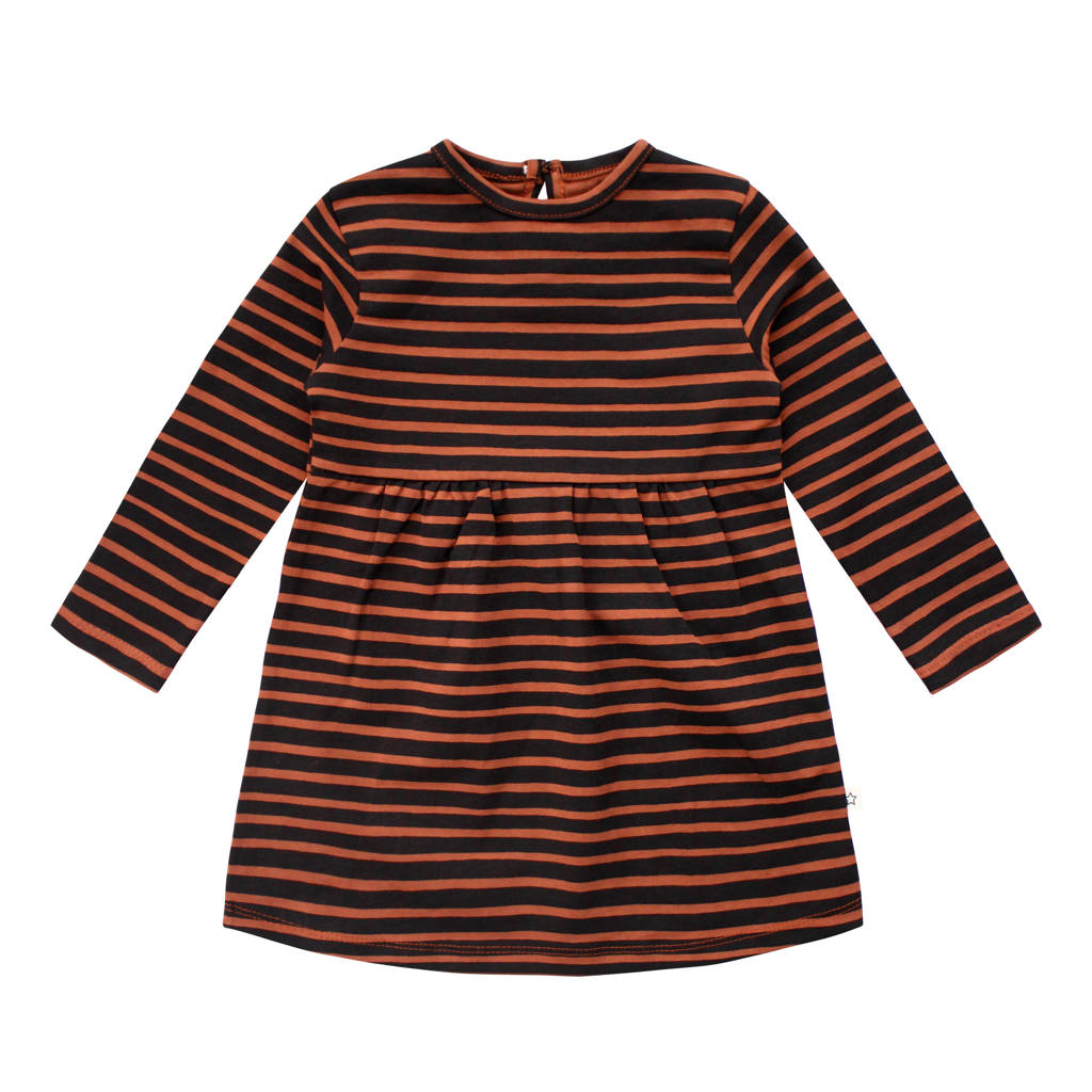 Your Wishes gestreepte A-lijn jurk met biologisch katoen bruin/zwart, Bruin/zwart